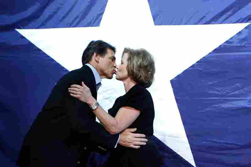 Texas Republican Gov. Rick Perry kisses his wife, Anita, at a victory party in Buda, Texas after winning re-election.