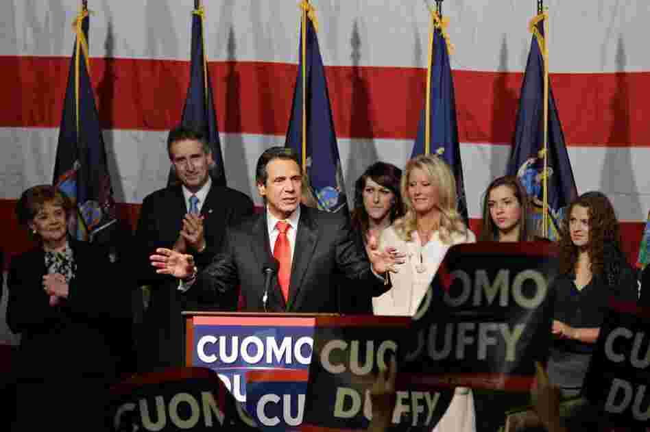 New York governor-elect Andrew Cuomo, a Democrat, gives a victory speech after defeating Carl Paladino.