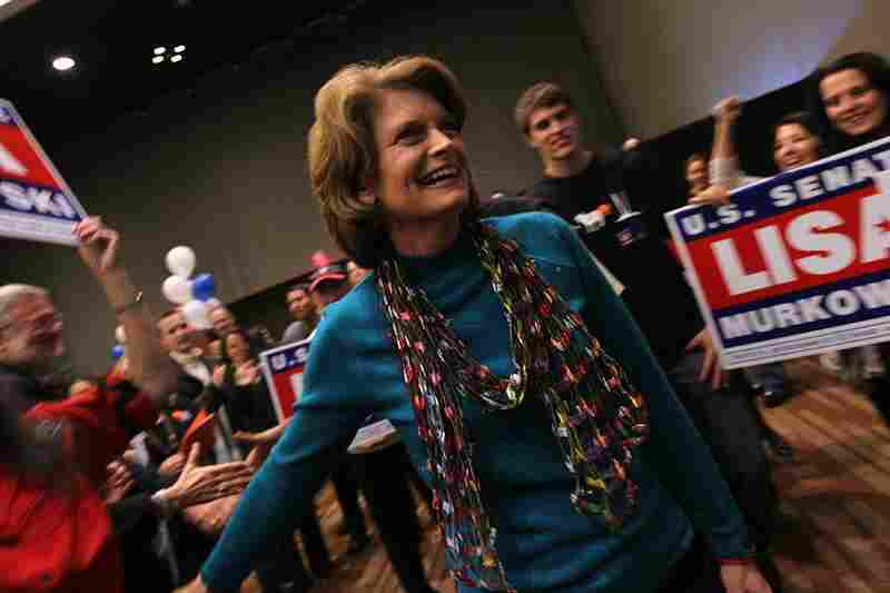 Sen. Lisa Murkowski (R-AK) thanks supporters at a results watching party in Anchorage, Alaska. Murkowski, defending her Senate seat as a write-in candidate, pulled into the lead in early results.