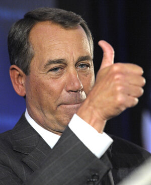 John Boehner celebrates the GOP victories that will shift the balance of power in Congress