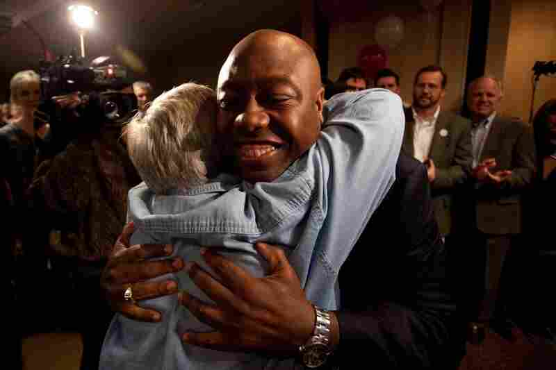 Tim Scott celebrates his victory in a House race in South Carolina. Scott is the first black Republican to be elected to Congress from South Carolina since Reconstruction.