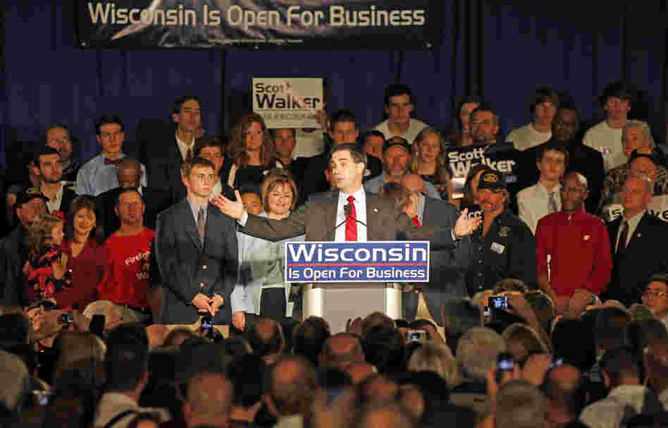 Wisconsin Republican Scott Walker speaks at his victory party.