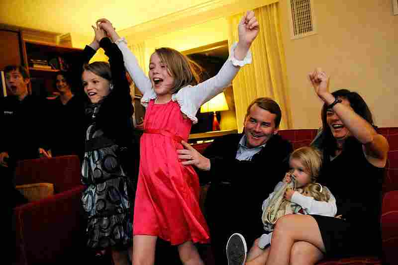 Incumbent Senatorial candidate Michael Bennet (D-CO) cheers with his family on Tuesday night, as early returns showed him leading. As of Wednesday afternoon, The Denver Post has reported that Bennett will be keeping his sea in the Senate.