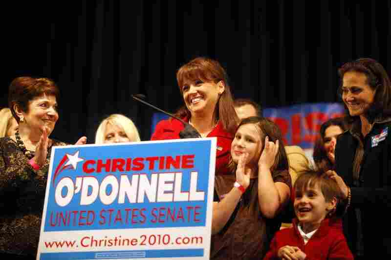 Delaware's Christine O'Donnell, another Tea Party favorite, speaks to supporters in Dover after losing  to Democrat Chris Coons.  He'll take over Vice President Joe Biden's former Senate seat.