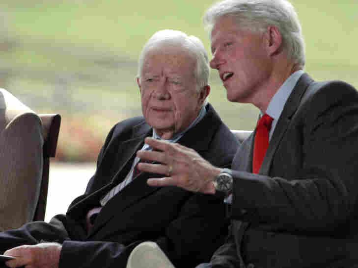 The Other Carter: Former President Bill Clinton, seen here speaking to former President Jimmy Carter