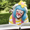 Clown reading
