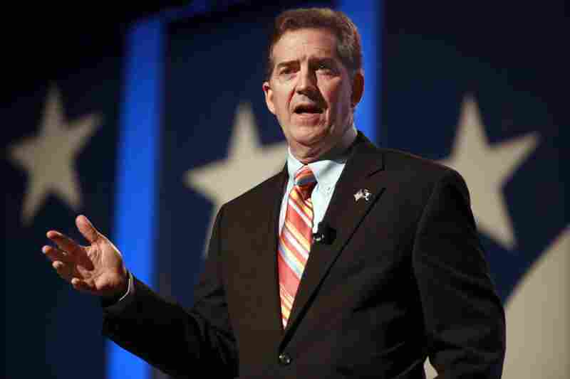 Sen. Jim DeMint, a South Carolina Republican who has embraced the Tea Party, easily won his re-election bid  Tuesday against Democrat Alvin Greene — an unemployed military veteran. In this Sept. 17 photo, DeMint speaks at the Values Voter Summit in Washington.