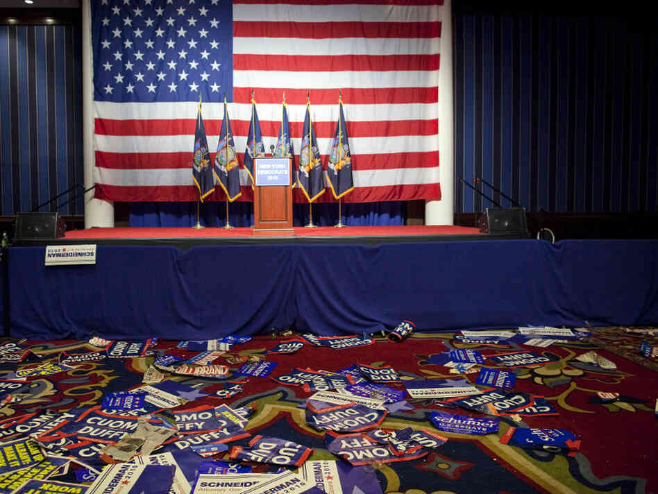 New York, Nov. 2: The scene after the Election Night victory party of Democrat Andrew Cuomo.