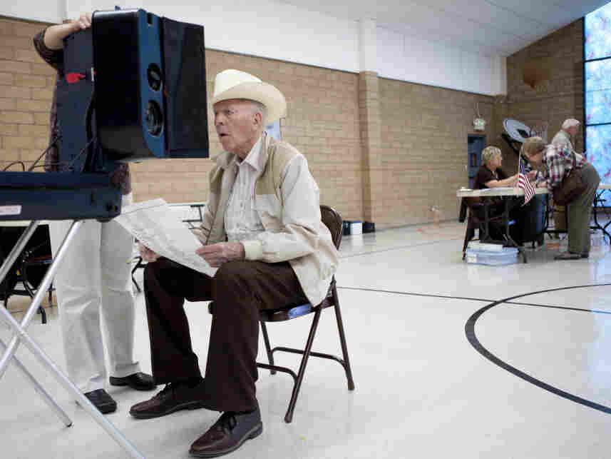 Ray Etnyre, 90, cast his vote Tuesday in Reno, NV.