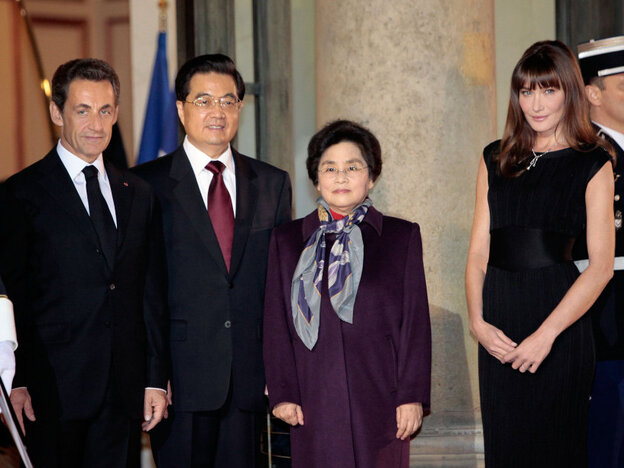 Nicolas Sarkozy, Hu Jintao, Carla Bruni Sarkozy, Liu Yongqing