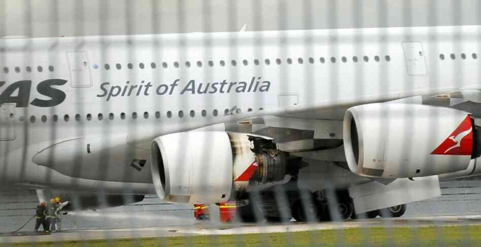 A troubled Qantas Airbus A380 plane seen after an emergency landing in Singapore.