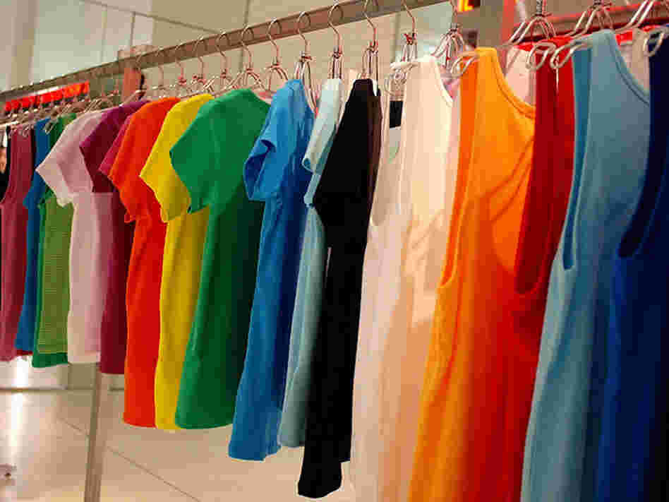 A rack of t-shirts.