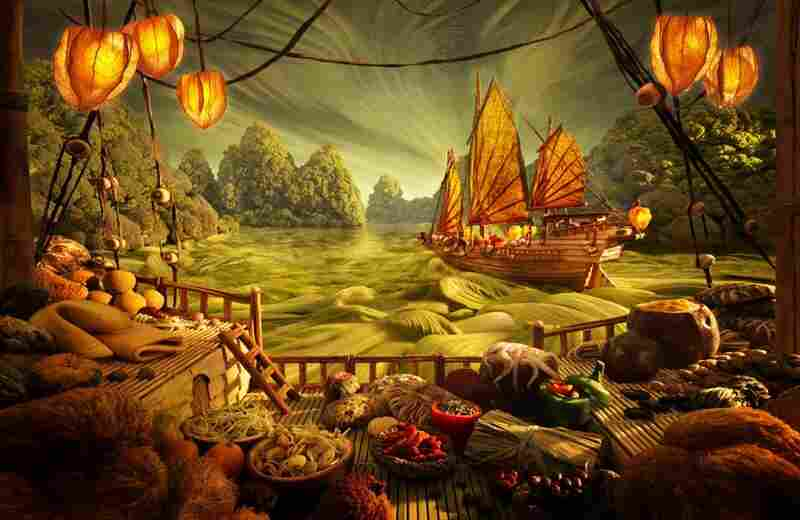 Chinese Junk: Junk/ship: dried herb woodwork, noodle floors, dried licorice-root rudder, dried lotus-leave sails.  Sea waves/sky: cabbage.