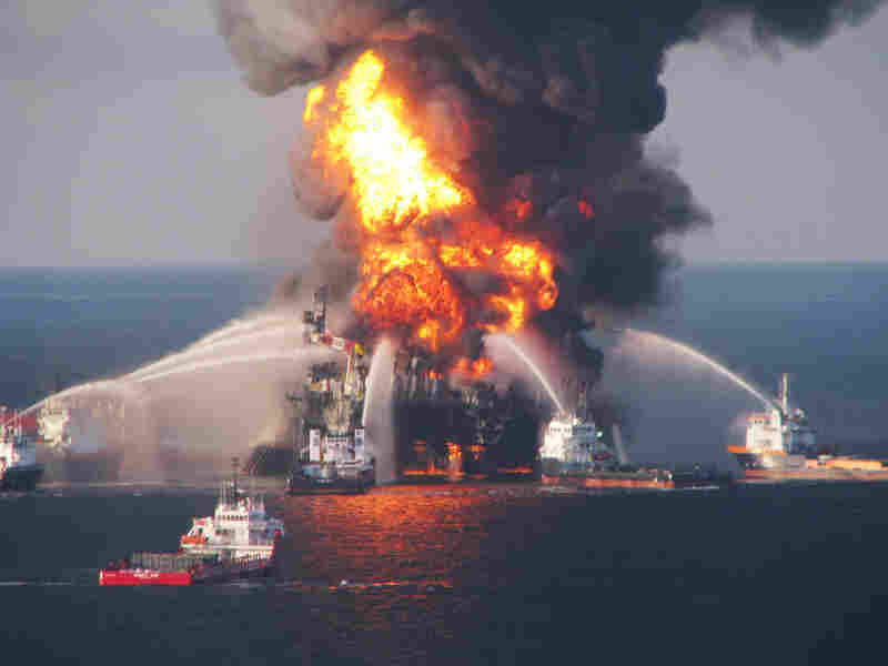 Boats battle a fire at the offshore oil rig Deepwater Horizon in April.