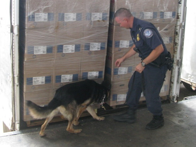 A federal agent and his canine look for drugs in a load of cargo at the World Trade Bridge in Laredo, Texas.