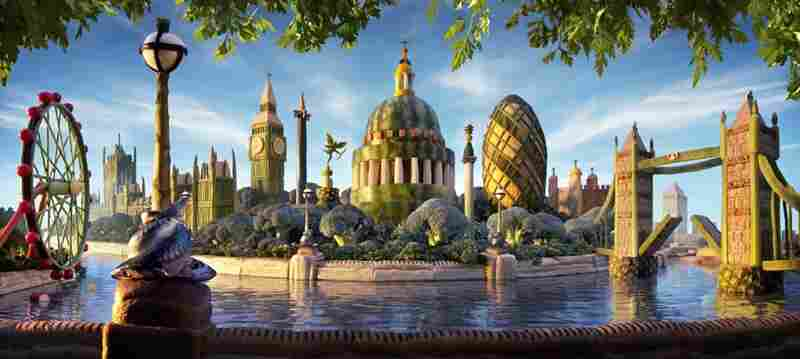 London Skyline: Riverbank walls: panini. Lamppost: mackerel, asparagus, onion, vanilla pods. London Eye: green beans, courgette, leek, lemon, rhubarb supports. The Dome: melon, green beans.