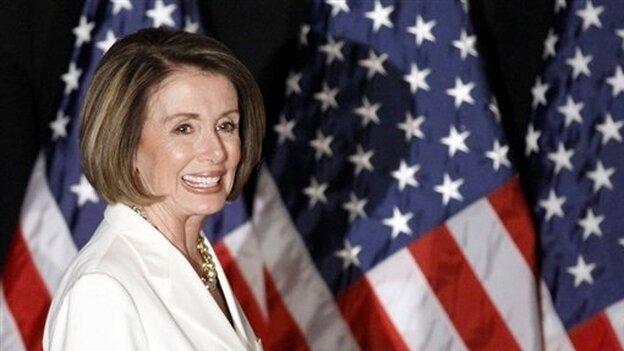 Pelosi with flags