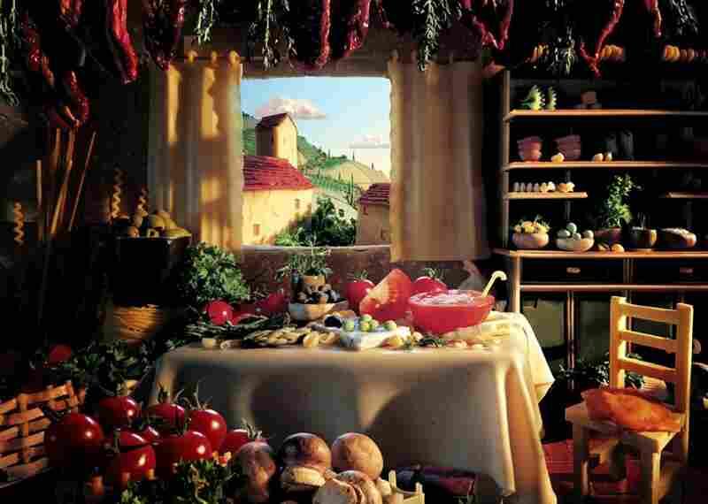 Tuscan Kitchen:  Outside: mozzarella clouds, fresh pasta fields, Parmesan buildings. Interior wall: Parmesan. Curtains: dried lasagna. Tablecloth: fresh lasagna pasta.