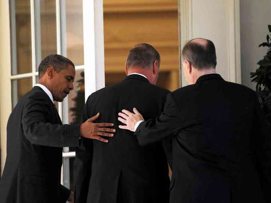 President Obama with National Security Adviser James Jones and his replacement, Tom Donilon.