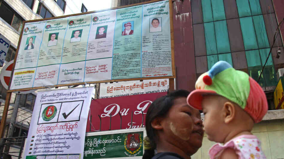 election poster in Yangon, Myanmar