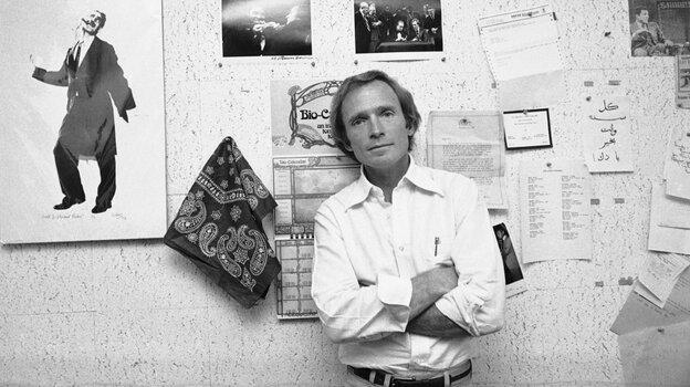 Dick Cavett poses in his New York office in 1978.
