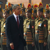 U.S. President Obama inspects an honor guard at the presidential palace in New Delhi, India.