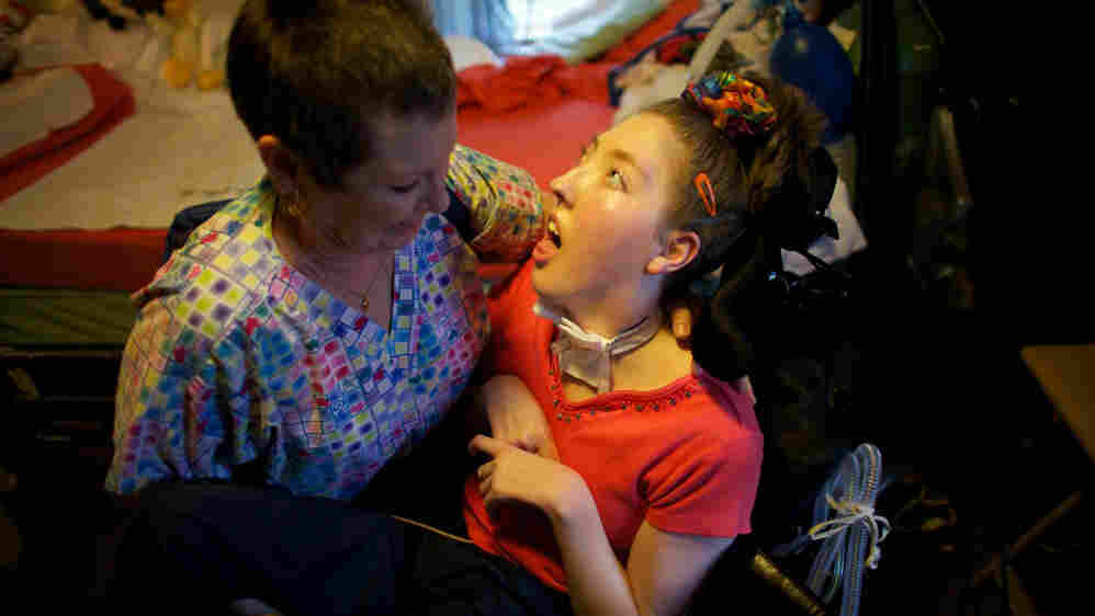 disabled girl and nurse