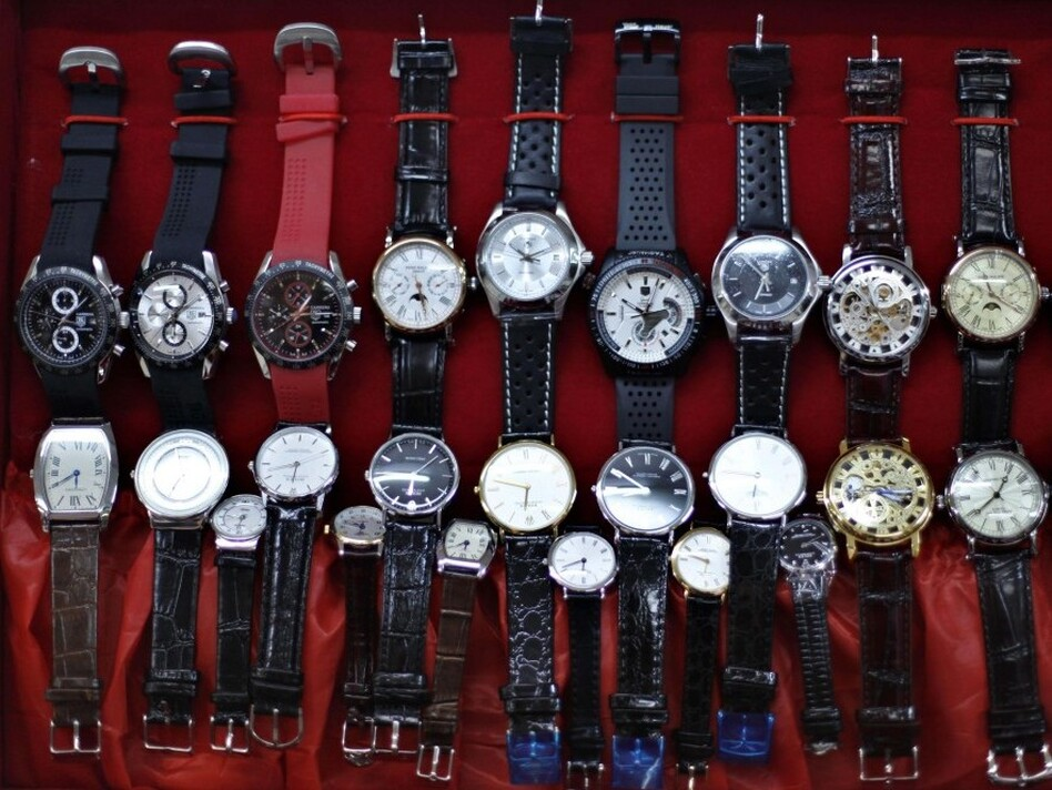 """Wristwatches are on display at a local market in Beijing, China. Market analysts say the wristwatch is the """"it"""" accessory of year, and sales are on the rise."""
