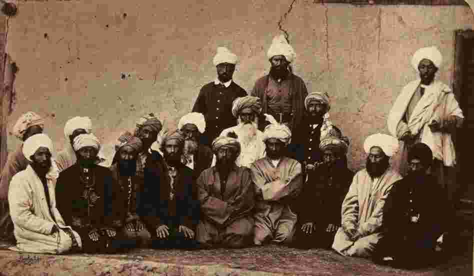 Sirdar Habiboula Ghilzai and other Afghan chiefs who fought against British rule during the Second Afghan War, circa 1880.