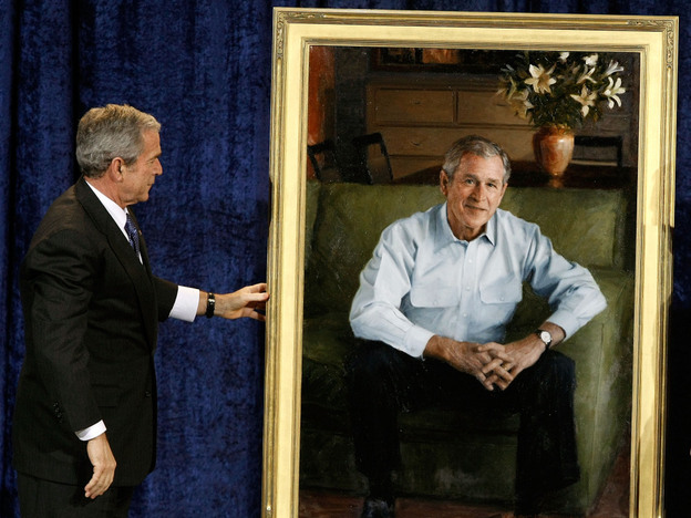 President George W. Bush attends the unveiling of his official portrait at the National Portrait Gallery in 2008. Bush reflects on his presidency in his new memoir, <em>Decision Points.</em>
