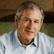 George Bush unveils his official portrait.