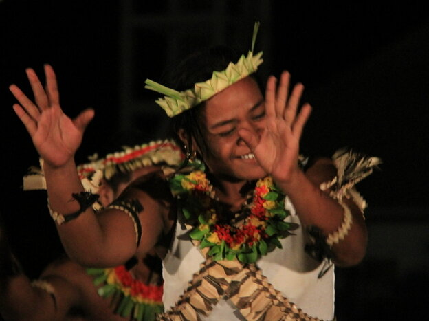 A traditional dancer in  Kiribati.