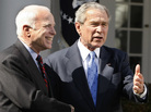 President George W. Bush and Sen. John McCain, March 5, 2008. Bush endorsed McCain that day.