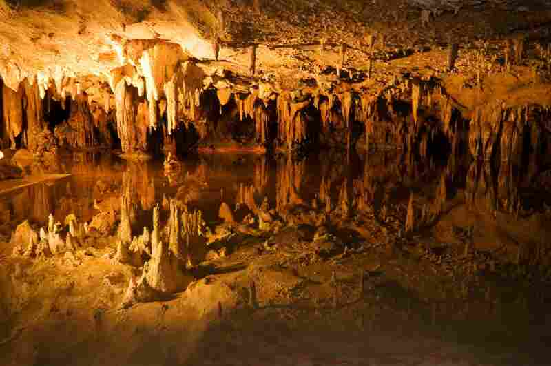 Stalagmites and stalactites found in Virginia's Luray limestone caverns formed millions of years ago.  Stalactites hang down from the ceiling of the cave; stalagmites stick up from the floor of the cave. Credit: iStockphoto.com
