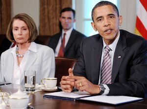 President Barack Obama and House Speaker Nancy Pelosi meet with Congressional leaders.