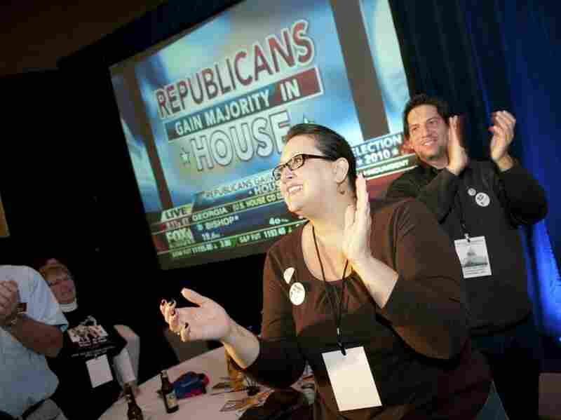 Attendees at a Tea Party election results events at a Washington, D.C., hotel cheer on Nov. 2.
