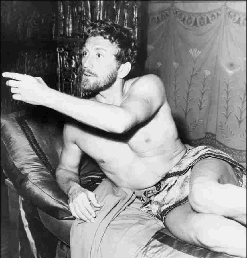 Film actor Kirk Douglas plays in Spartacus in 1960