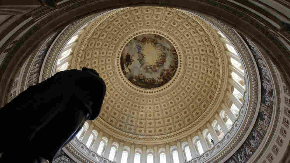 The statue of President George Washington stands in the Capitol Rotunda on Capitol Hill