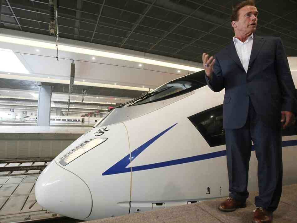 Arnold Schwarzenegger and high speed train