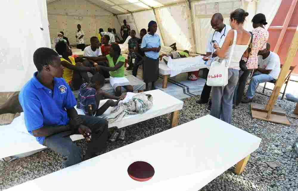 Patients are treated for cholera at a Doctors Without Borders (Medecins Sans Frontieres) facility in