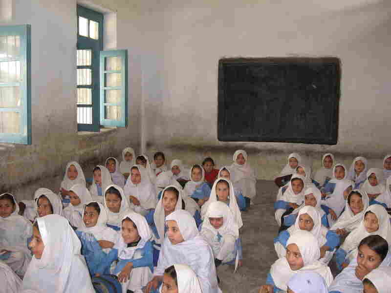 Schoolgirls in the main Upper Kurram city of Parachinar sit on cold floors.