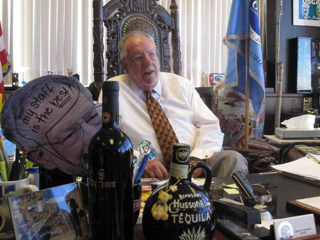 Las Vegas Mayor Oscar Goodman's office reflects his buoyant personality.
