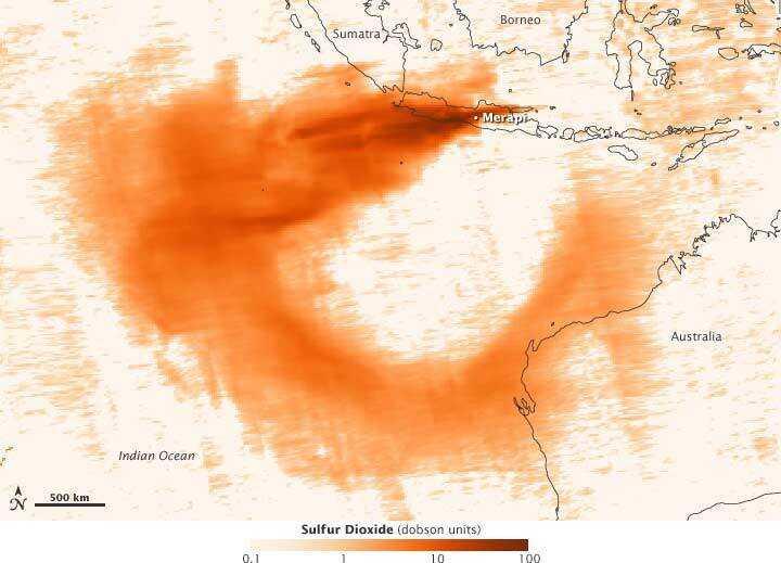 Map showing sulfur dioxide from Mount Merapi eruption
