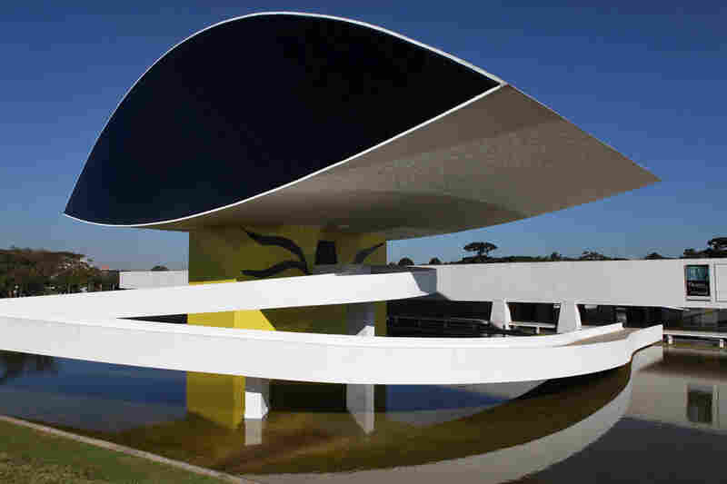 A view of the Oscar Niemeyer Museum, the largest museum in Latin America, in Curitiba, Brazil.