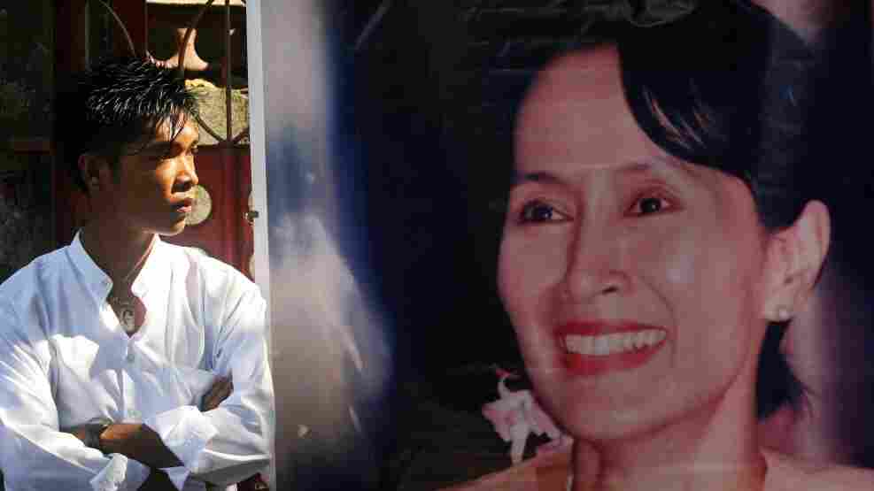 In Yangon today, Aung San Suu Kyi's portrait hung outside her party's headquarters.