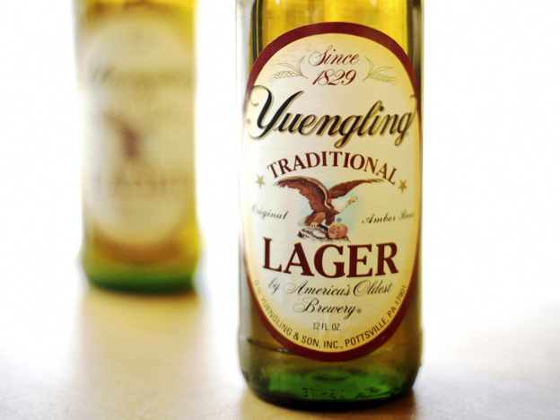 Bottles of Yuengling beer are displayed in Philadelphia.
