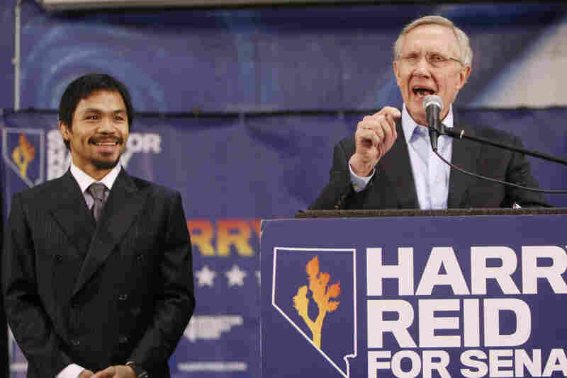 Senate Majority Leader Harry Reid with boxer Manny Pacquiao