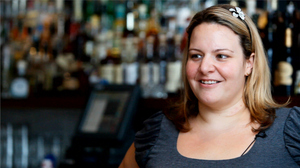 Mixologist Gina Chersevani whips up some berry mocktails at PS 7's restaurant in Washington, D.C.