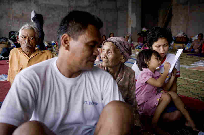Many evacuees are taking refuge at the largest soccer stadium in Yogyakarta. Some have been in shelters since the volcano's first eruption more than two weeks ago.