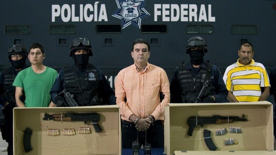 Alleged drug traffickers of the Sinaloa cartel are presented to the press in Mexico City after their arrest earlier this month. (AFP/Getty Images)